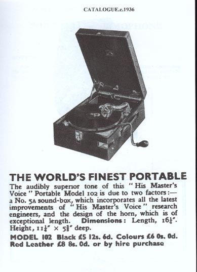 HMV Model 102 Advert